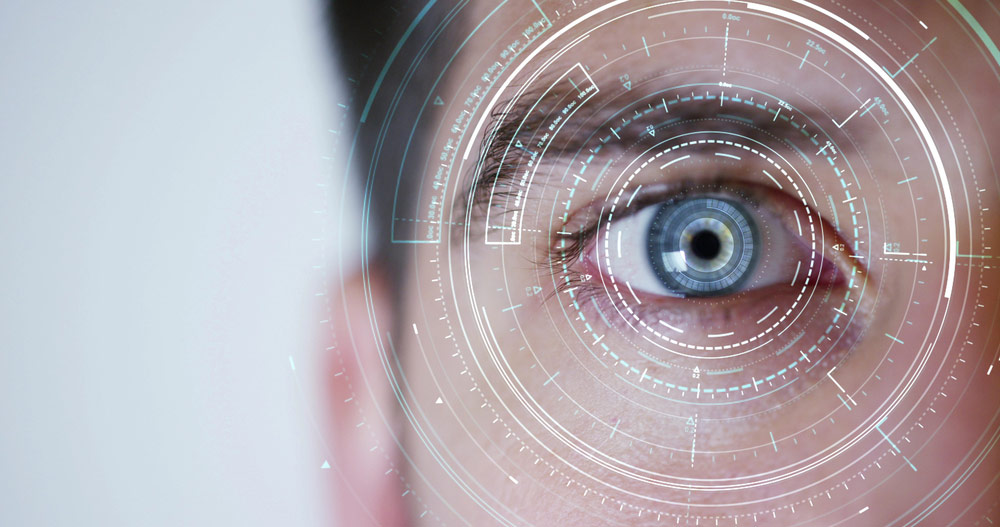 close up photo of man being eye scanned to depict acuity 360 technology
